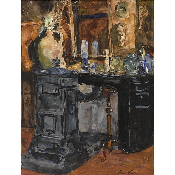Floris Hendrik Verster 1861-1927 , in the artist's studio watercolour