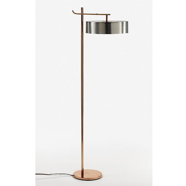 Kurt Versen , Floor Lamp copper-plated brass and aluminum