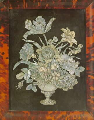 A rare Dutch engraved mother-of-pearl and black slate plaque signed F.DE.H for Franz de Hamilton