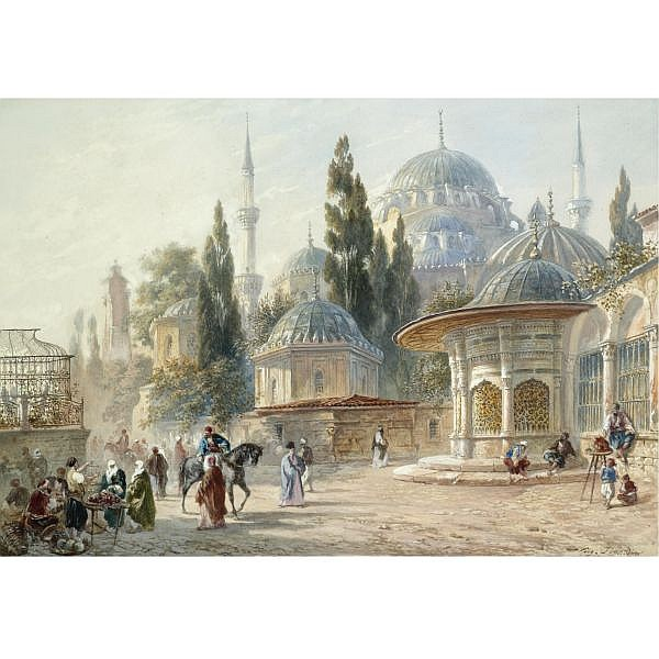 Eugène-Napoleon Flandin , French 1803-1876 the Sehzade Mosque in Laleli, Constantinople watercolour and gouache on paper