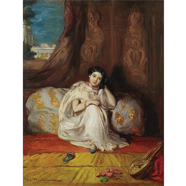 Théodore Chassériau , French 1819-1856 Jeune Fille Mauresque, assise dans un riche intérieur (Almée) oil on panel
