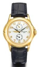 PATEK PHILIPPE | A FINE YELLOW GOLD DUAL TIME WRISTWATCH WITH 24-HOUR INDICATION<br />REF 5134 MVT 3084930 CASE 4109622 MADE IN 2002