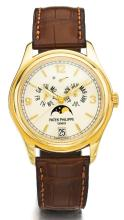 PATEK PHILIPPE | A YELLOW GOLD AUTOMATIC ANNUAL CALENDAR CENTER SECONDS WRISTWATCH WITH MOON PHASES AND POWER RESERVE<br />REF 5146 MVT 3421211 CASE 4307151MADE IN 2005