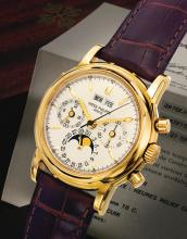 PATEK PHILIPPE | A VERY FINE YELLOW GOLD PERPETUAL CALENDAR CHRONOGRAPH WRISTWATCH WITH MOON PHASES, REGISTERS, 24 HOUR AND LEAP YEAR INDICATION<br />REF 3970 MVT 3047011 CASE 4225179MADE IN 2003