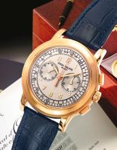 PATEK PHILIPPE | A PINK GOLD OVERSIZED CHRONOGRAPH WRISTWATCH WITH REGISTER AND TACHYMETER<br />REF 5070 MVT 3362258 CASE 4257171 MADE IN2004