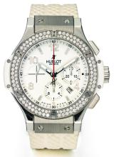 HUBLOT | A STAINLESS STEEL AND DIAMOND-SET AUTOMATIC CHRONOGRAPH WRISTWATCH WITH DATE AND REGISTERS<br />CASE 646128 BIG BANG CIRCA 2005
