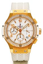 HUBLOT | A FINE PINK GOLD AND DIAMOND-SET AUTOMATIC CHRONOGRAPH WRISTWATCH WITH DATE<br />REF 341.PE.2010 NO 643949 CIRCA 2012