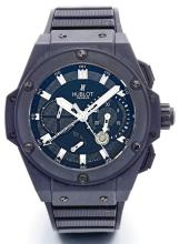 HUBLOT | A LIMITED EDITION CERAMIC AND RUBBERSPLIT-SECONDS CHRONOGRAPH WRISTWATCH WITH REGISTER AND POWER RESERVE INDICATION<br />NO 458/500 KING POWER CIRCA 2012