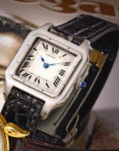 CARTIER | A RARE AND EARLY PLATINUM AND YELLOW GOLD WRISTWATCH<br />SANTOS DUMONT CIRCA 1925