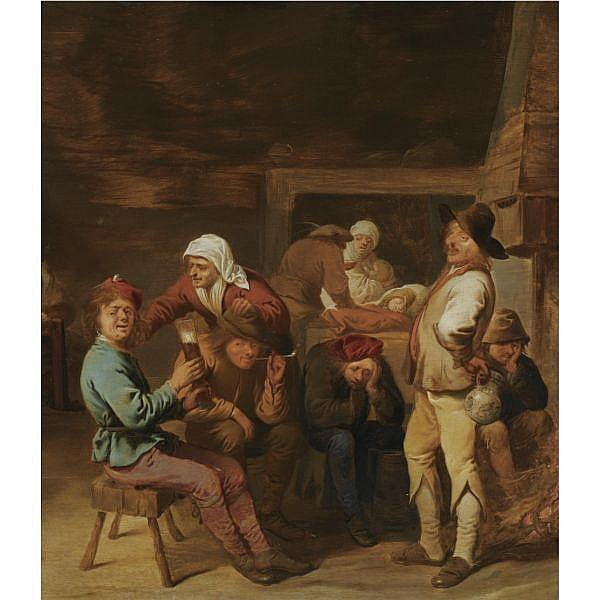 Pieter Jansz. Quast , Amsterdam 1605/6 - 1647 A barn interior with smoking and drinking peasants beside a fireplace, a sleeping child and a mother nursing her child in the background oil on panel