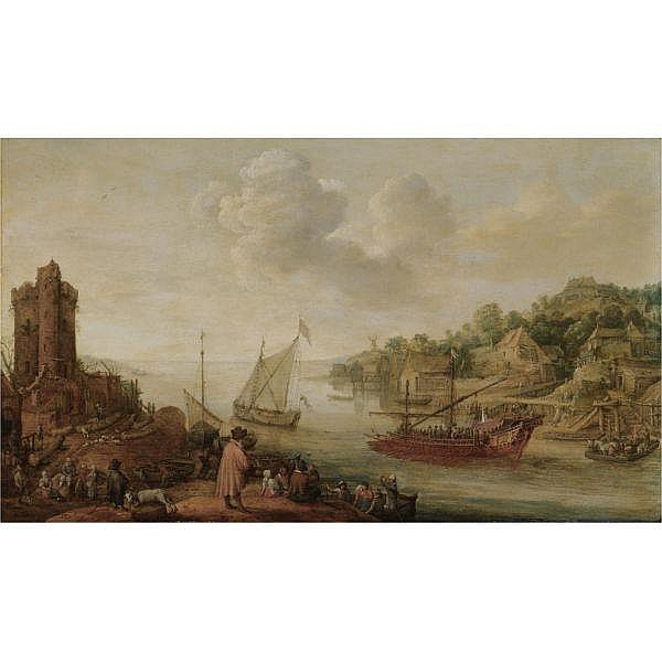 Adam Willaerts , Antwerp 1577 - 1664 Utrecht   A river estuary with a royal barge and other shipping, a ruined tower and numerous figures on the banks in the foreground oil on panel