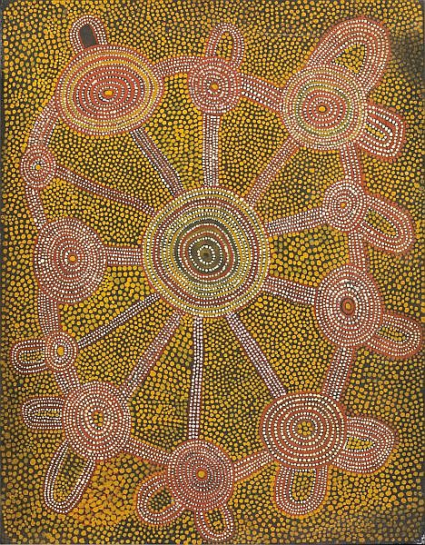 ANATJARI TJAMPITJINPA , CIRCA 1927-1999 THE SOAKAGE - WATER SITE OF NULUNTJA (LUNJUNA) Synthetic polymer paint on canvas board