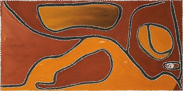 ROVER THOMAS (JOOLAMA) , CIRCA 1926-1998 RUBY PLAINS MASSACRE Natural earth pigments and binders (bush gums) on canvas