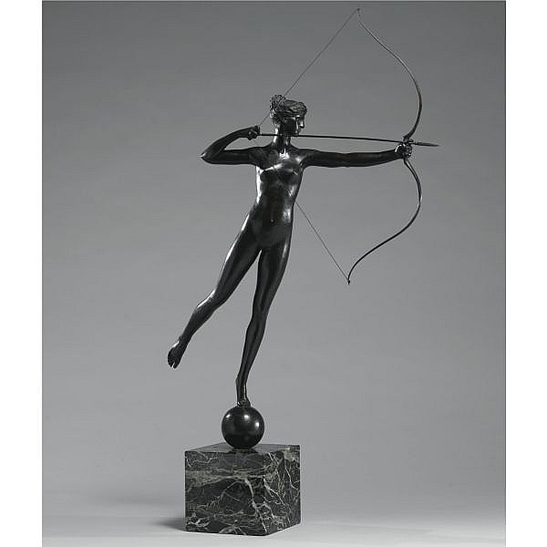 Augustus Saint-Gaudens 1848-1907 , Diana of the Tower bronze, dark brown patina