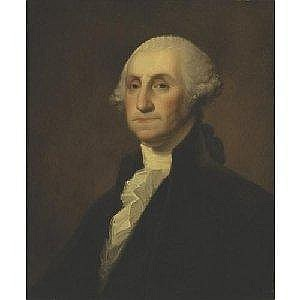 GILBERT STUART 1755-1828 PORTRAIT OF GEORGE WASHINGTON Measurements: 28 by 23.25in. Alternate Measurements: (71.1 by 59.1 cm) oil on panel Painted circa 1805-10. Provenance: John Jacobs, Chester County, Pennsylvania (said to have been presented to