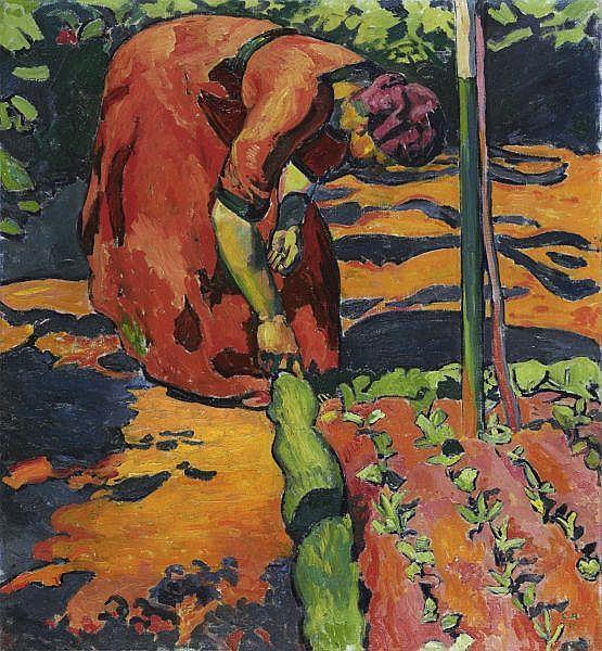 - Cuno Amiet 1868-1961 , FRAU IM GARTEN, 1911   WOMAN IN THE GARDEN, 1911 Öl auf Leinwand