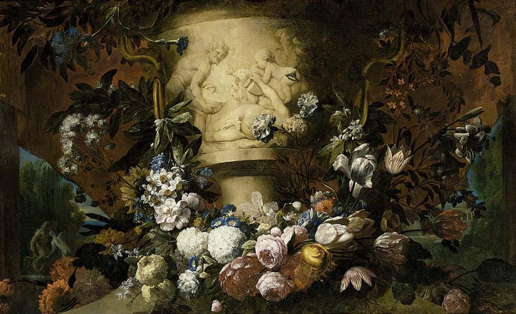 GASPAR PEETER VERBRUGGEN THE YOUNGER ANTWERP 1664 - 1730 A GARLAND OF ROSES, TULIPS, DAFFODILS,