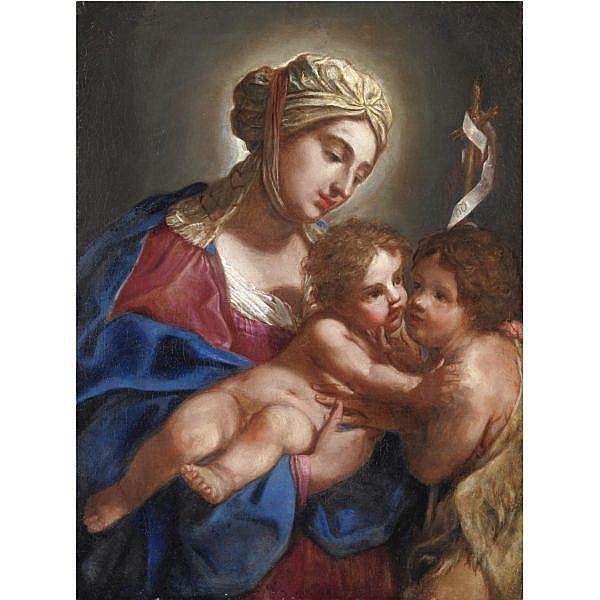 Elisabetta Sirani , Bologna 1638 - 1665 Madonna con Bambino e San Giovannino olio su tela