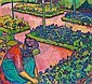c - CUNO AMIET 1868-1961 FRAU IM GARTEN, 1912, Cuno Amiet, Click for value
