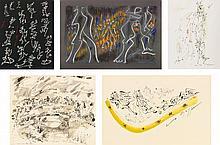 ANDRÉ MASSON | Kabuki 19;Assemblée sur un pont;Matin VIII;Scène Mythologique;Sans titre: Five works on paper
