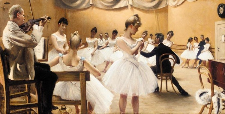 PAUL FISCHER DANISH, 1860-1934 TIME I DET KGL. TEATERS BALLETSKOLE (A CLASS AT THE ROYAL THEATRE