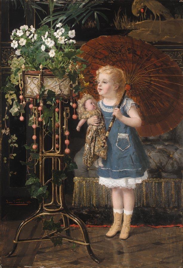 JAN FRANÇOIS VERHAS BELGIAN, 1834-1896 JEUNE FILLE A LA POUPEE ET OMBRELLE