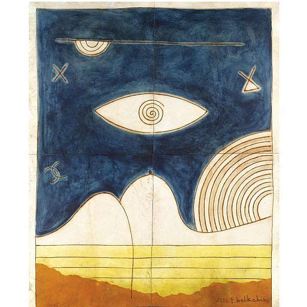 - Farid Belkahia , Moroccan B. 1934 Oeil Nocturne (Nocturnal Eye) dye and henna on parchment laid down on board
