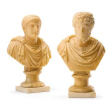 A PAIR OF ITALIAN GRAND TOUR CARVED ALABASTER BUSTS OF OCTAVIAN AND LUCIUS VERUS 19TH CENTURY |