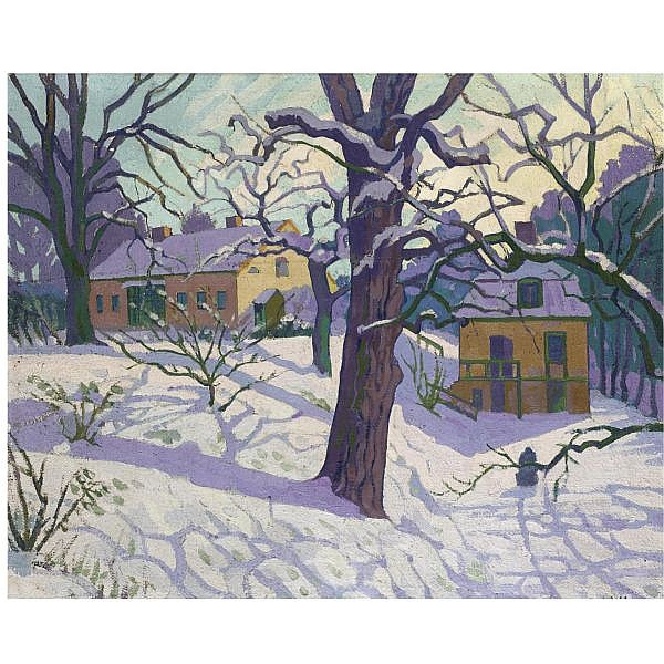 William Ratcliffe , 1870 - 1955 cottage under snow, sweden oil on canvas