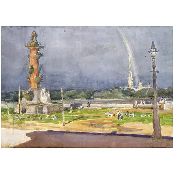 Anna Petrovna Ostroumova-Lebedeva , 1871-1955 rainbow over vasilievsky island, St. petersburg watercolour on paper
