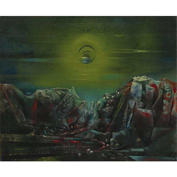 Max Ernst , 1891-1976 Moon II Oil on canvas