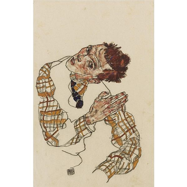 Egon Schiele , 1890-1918 Selbstbildnis mit kariertem Hemd ( Self-Portrait with Checkered Shirt ) Gouache, watercolor and black crayon on paper