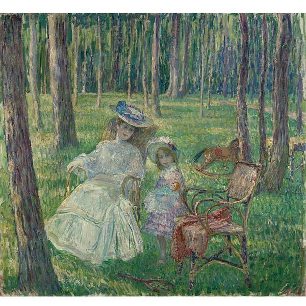 Henri Lebasque , 1865-1937 MÈRE ET ENFANT DANS LE PARC Oil on canvas