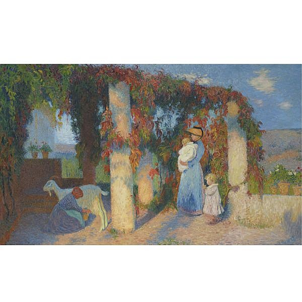 Henri Martin , 1860-1943 La Pergola à Marquayrol Oil on canvas