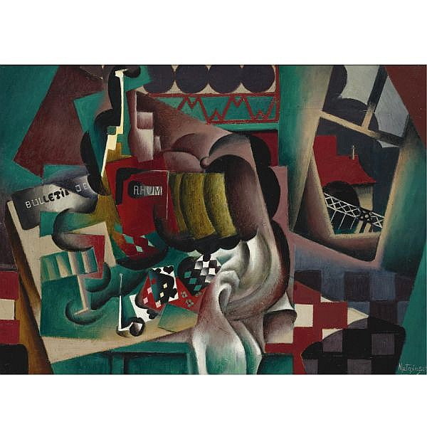 Jean Metzinger , 1883-1956 Nature Morte au potiron et bouteille de Rhum Oil on canvas