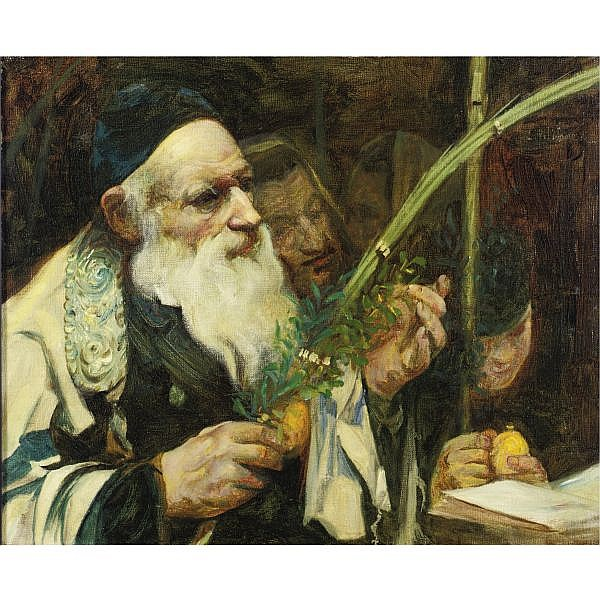 Leopold Pilichowski 1869-1934 , Examining the Lulav oil on canvas