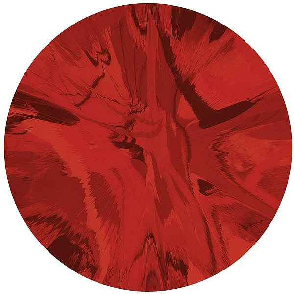 Damien Hirst , b. 1965 Beautiful RED Spin Painting household gloss paint on canvas
