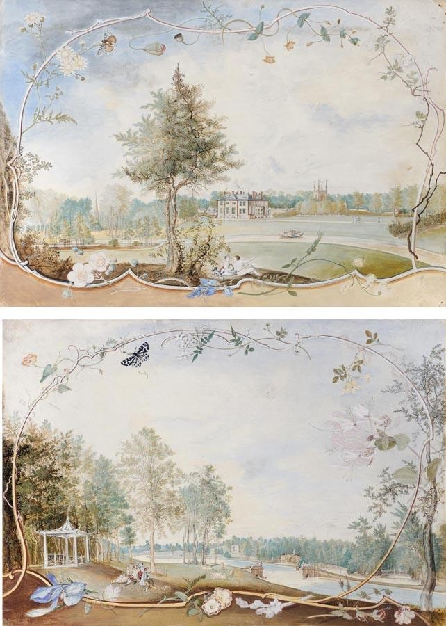 THE PROPERTY OF A PRIVATE COLLECTION THOMAS ROBINS 1715-1770 THE GROUNDS AT HONINGTON HALL,