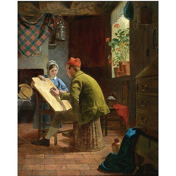 James Collinson , 1825-1881 the writing lesson oil on panel