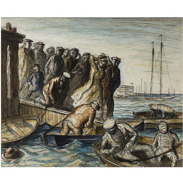 Edward Ardizzone , 1900-1979 figures on a pier pen, ink, pencil and watercolour