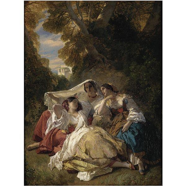 Franz Xaver Winterhalter , 1805-1873 la siesta oil on canvas