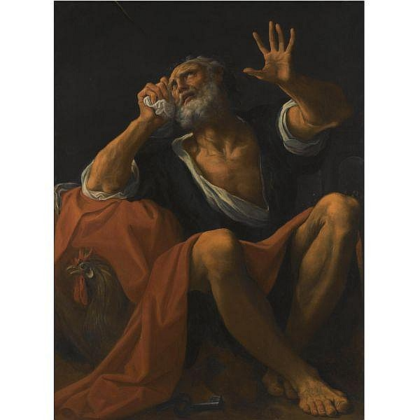 Ludovico Carracci , Bologna 1555 - 1619 The Penitent Saint Peter   oil on canvas