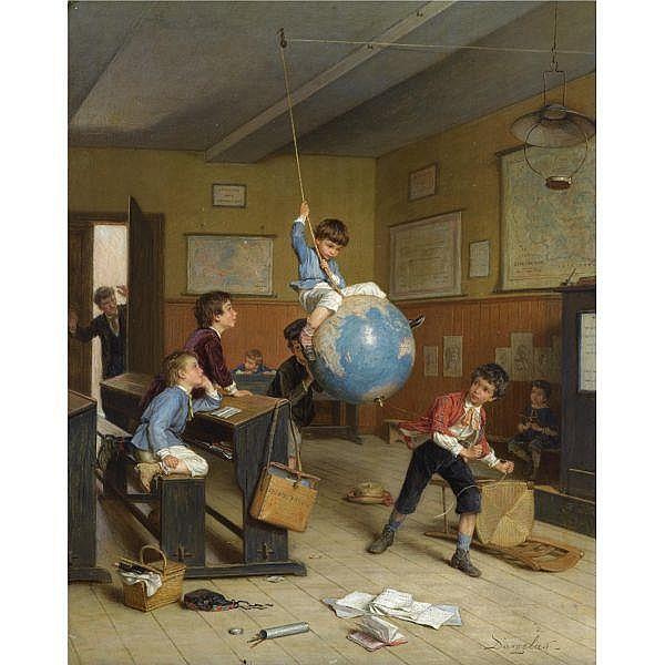 André-Henri Dargelas , French 1828 - 1906   le tour du monde oil on panel