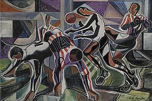 Roy de Maistre 1894-1968 THE FOOTBALLERS oil on canvas