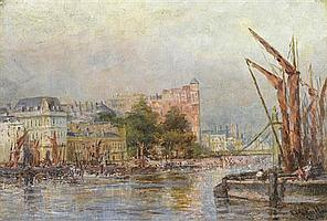 Frederick McCubbin 1855-1917 BARGES, POOL OF LONDON (1907) oil on canvas on board