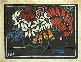 Margaret Preston 1875-1963 STURTS PEA 1925 woodblock print, hand-coloured