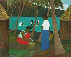 Ray Crooke born 1922 LAGOON, FIJI oil on canvas