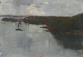 Arthur Streeton 1867-1943 SYDNEY HARBOUR 1895 oil on wood panel