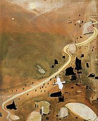 Brett Whiteley 1939-1992 THE VALLEY AT DUSK (1983) tempera and oil with applied stone and plaster on composition board