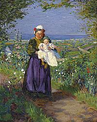 § Ambrose Patterson 1877-1966 (BRETON WOMAN AND CHILD) 1908 oil on canvas